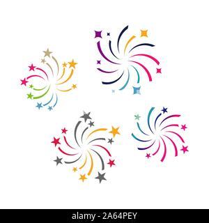 firework logo vector design colorful fireworks splash sparkling star logotype - Stock Photo