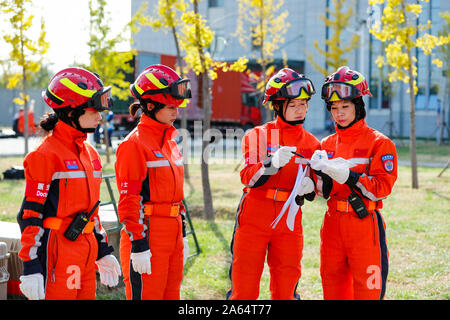 Beijing, China. 21st Oct, 2019. Members of China Search and Rescue Team undergo an earthqueke search and rescue training at a training base in Daxing District of Beijing, capital of China, Oct. 21, 2019. China Search and Rescue Team and China International Search and Rescue Team successfully passed UN assessments respectively on Wednesday, making China the first Asian country owning two heavy Urban Search and Rescue (USAR) teams certified by the United Nations. Credit: Shen Bohan/Xinhua/Alamy Live News - Stock Photo