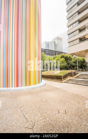 residential and office buildings, ventilation chimney le moretti by french artist raymond moretti - Stock Photo