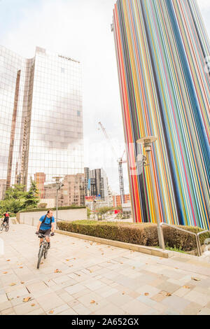 residential and office buildings, ventilation chimney le moretti by french artist raymond moretti, la defense - Stock Photo
