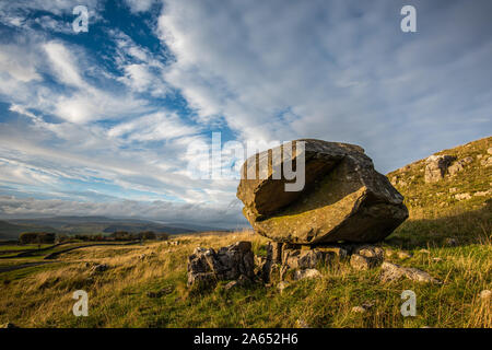'Samson's Toe' at Winskill Stones, where a weathered Silurian boulder has been dropped by the Ribblesdale glacier.