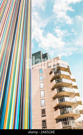 ventilation chimney le moretti and residential building, la defense - Stock Photo