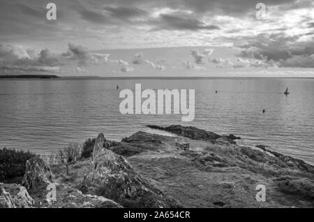 A view of Penlee Point from Queen Adelaides Grotto, built 1826,  at the end of Earl's Drive on the Rame Peninsula in Cornwall - Stock Photo
