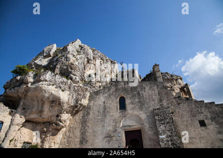Italy, Basilicata region: Matera. Rupestrian church of Santa Maria de Idris - Stock Photo