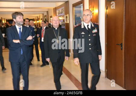 Ceremony this morning at the Carabinieri Officers' School for the return of a Roman sculpture that had been stolen and taken to America. In the photo Dario Franceschini and Cardinal Ravasi and the commander general Arma Carabinieri Giovanni Nistri (Marcellino Radogna/Fotogramma, Rome - 2019-10-24) p.s. Credit: Independent Photo Agency Srl/Alamy Live News - Stock Photo