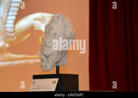 Ceremony this morning at the Carabinieri Officers' School for the return of a Roman sculpture that had been stolen and taken to America. In the photo the archaeological find head of the god pan (Marcellino Radogna/Fotogramma, Rome - 2019-10-24) p.s. Credit: Independent Photo Agency Srl/Alamy Live News - Stock Photo