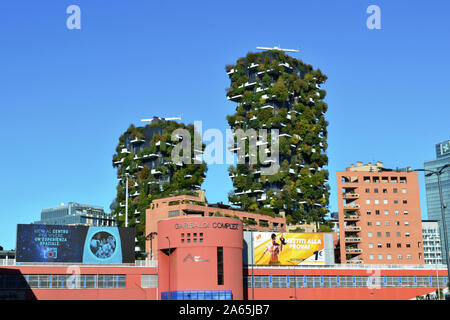 Milan/Italy - October 16, 2019: Panoramic view to Porta Garibaldi railway station parking and Bosco Verticale residences at the Porta Nuova district. - Stock Photo