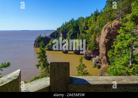 View of Hopewell Rocks at high tide, New Brunswick, Canada - Stock Photo