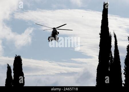 Helicopter during Francisco Franco exhumation by Spanish Goverment on Friday at Valle de los Caidos ( The Valley of the Fallen ) in San Lorenzo del Escorial, Spain, October 24, 2019. Credit: CORDON PRESS/Alamy Live News - Stock Photo