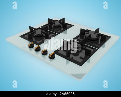 Gas stove embedded glass metal 3d render on blue background with shadow - Stock Photo