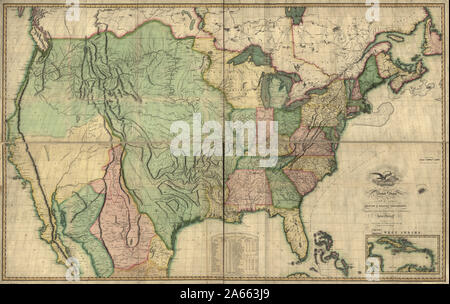 Map of the United States of America- With the Contiguous British and Spanish Possessions, 1816 - Stock Photo
