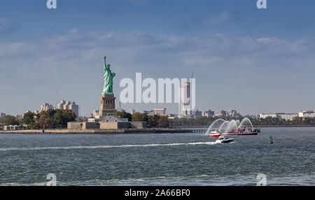Statue of Liberty seen from the Staten Island Ferry - Stock Photo