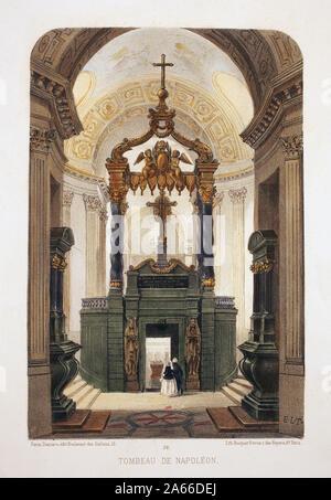 Tombeau de Napoleon Bonaparte (1769-1821), eglise du Dome, Saint Louis des Invalides, Paris. Lithographie aquarellee, illustration de E.de la Tramblai - Stock Photo
