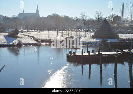 Roskilde from the Viking Ships Museum Bridge - Stock Photo