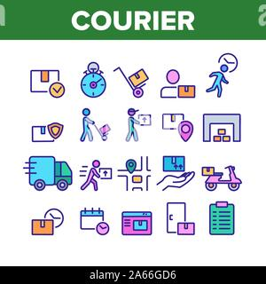 Courier Post Collection Elements Icons Set Vector Thin Line. Human Silhouette With Cart And Box, Truck And Motorbike Courier Service Concept Linear Pi - Stock Photo