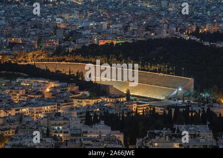 Aerial view of Panathenaic Stadium in night, Athens, Greece - Stock Photo
