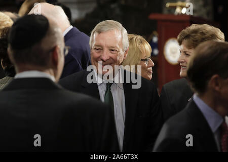 Washington, United States. 24th Oct, 2019. Sen. Richard Durbin, D-Ill., center, arrives at the memorial services for Rep. Elijah Cummings, D-Md., at the U.S. Capitol in Washington, DC on Thursday, October 24, 2019. Pool photo by Pablo Martinez Monsivais/UPI Credit: UPI/Alamy Live News - Stock Photo