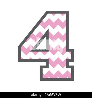 4 Four Chevron Number w colorful pink and white pattern and grey border - Stock Photo