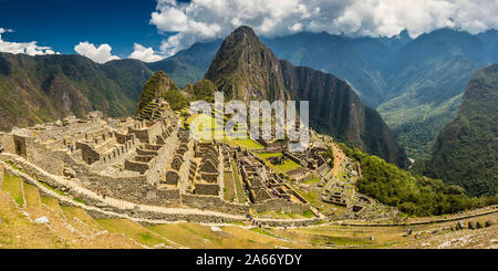 Machu Picchu on mountain in Andes, Cuzco Region, Peru - Stock Photo