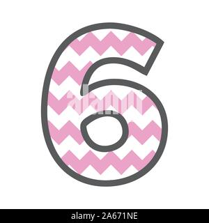 6 Six Chevron Number w colorful pink and white pattern and grey border - Stock Photo