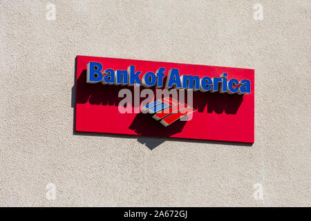Bank of America giant sign on building, Hollywood, Los Angeles, California, United States of America. October 2019 - Stock Photo