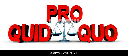 Quid pro quo law concept as a business transaction or unethical political action in giving something for a favour as an exchange or transfer. - Stock Photo