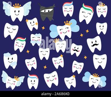 Vector Collection of Happy Teeth and Tooth Fairies - Stock Photo