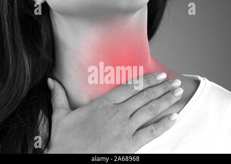 Close-up Of Female Suffering From Gland Inflammation - Stock Photo