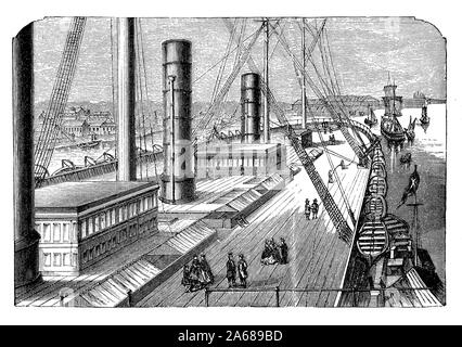 The after deck  of the Great Eastern  iron sailing steamship launched in 1858 the largest ship ever built at that time - Stock Photo