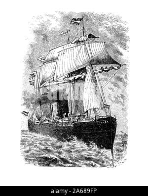 The transatlantic steam-ship Fulda of the fleet of the North German Lloyd Company, cargo and passenger speedboat with many decorated saloons and cabin, 19th century - Stock Photo