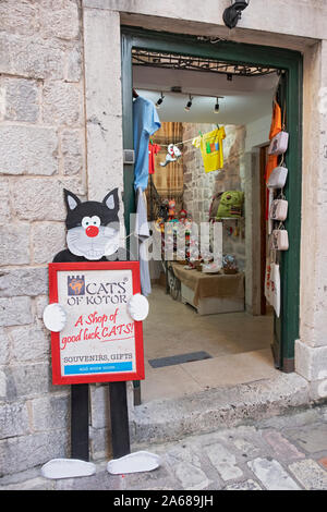 A view inside the door of the Cats of Kotor speciality gift shop ion Montenegro's old Town - Stock Photo