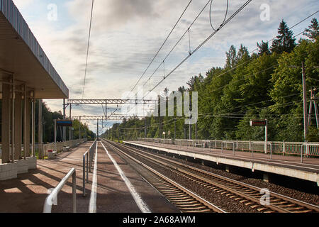 View of the suburban railway station with rails and platforms in two directions. Forest in the background - Stock Photo