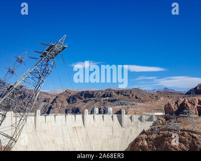 Hoover Dam reservoir. Hoover Dam in United States. Hydroelectric power station on the border of Arizona and Nevada.  - Stock Photo