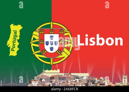 vector travel poster with Lisbon city skyline silhouette and Portugal flag and map on background - Stock Photo