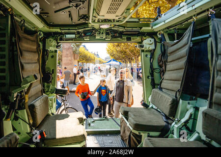Strasbourg, France - Sep 21, 2019: View from the interior of Vehicule Blinde de Combat d'Infanterie - VBCI, Armoured Infantry Fighting Vehicle Manufactured by Renault at the people admiring the military machine - Stock Photo