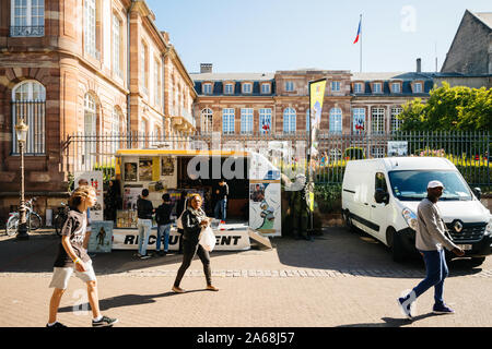 Strasbourg, France - Sep 21, 2019: Open days of French military forces in PLace Broglie with childrens and adult knowing closer the Military Forces - Stock Photo