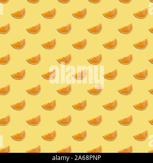 Digital seamless pattern with orange slices on green mint background. Repeating elements - Stock Photo