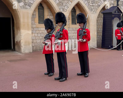 LONDON , ENGLAND- OCTOBER, 4 2017 changing of the queen's guard at windsor castle - Stock Photo