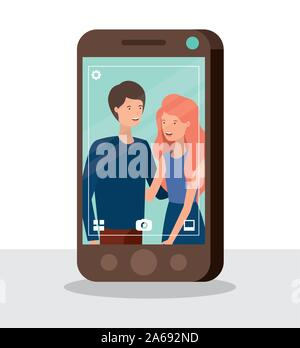 young couple in smartphone characters - Stock Photo