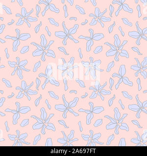 Colourful Decorative Botanical Floral Pattern in Vector - Suitable for prints, patterns, backgrounds, websites, wallpaper, crafts - Stock Photo