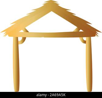 golden manger wooden stable isolated icon - Stock Photo