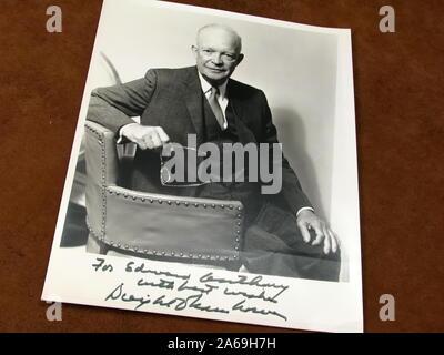 Vintage Dwight Eisenhower autographed photo to Edward Anthony. Stock Photo