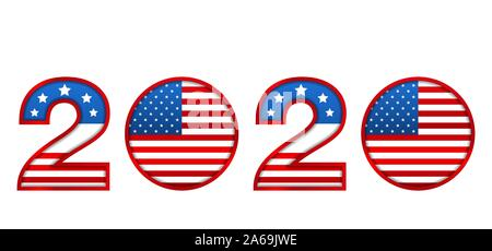 New Year 2020 with National Colors of USA American Flag - Vector Illustration - Stock Photo