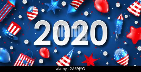 New Year 2020 with National Colors of USA American Flag. Greeting Poster - Illustration Vector - Stock Photo