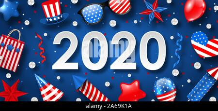 New Year 2020 with National Colors of USA American Flag. Celebration Banner - Illustration Vector - Stock Photo