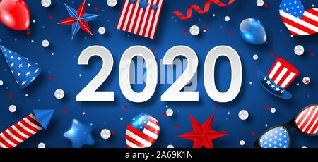 New Year 2020 with National Colors of USA American Flag. Voting Advertise - Illustration Vector - Stock Photo