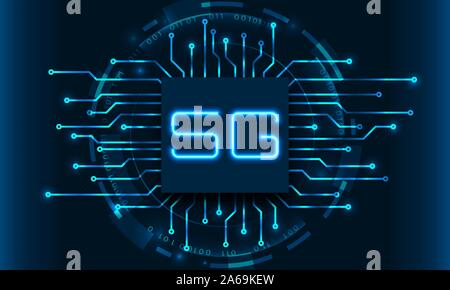 5G New Wireless Internet Wi-Fi Connection. Circuit Elements - Illustration Vector - Stock Photo