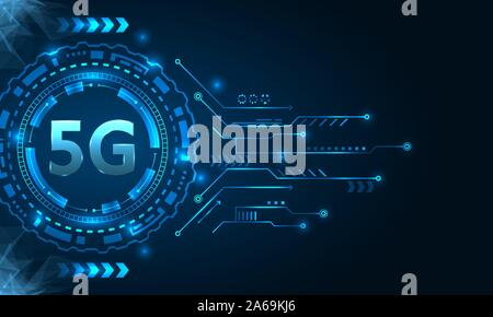 5G New Wireless Internet Wi-fi Connection, HUD Elements - Illustration Vector - Stock Photo