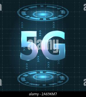 5G New Wireless Internet Wi-fi Connection. Global Network High Speed Innovation - Illustration Vector - Stock Photo