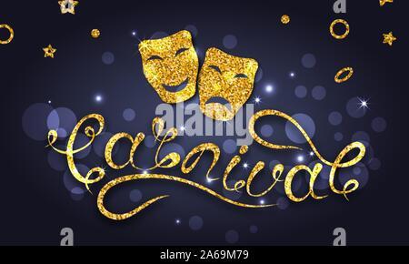 Happy Carnival Festive Postcard, Golden Theater Masks, Glitter Poster - Illustration Vector - Stock Photo